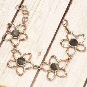 vintage star flower silver black link bracelet